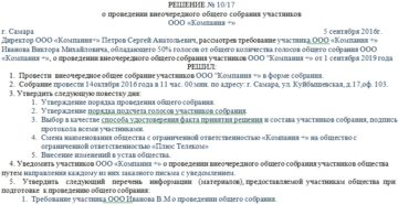 Лист регистрации участников общего собрания общества с ограниченной ответственностью